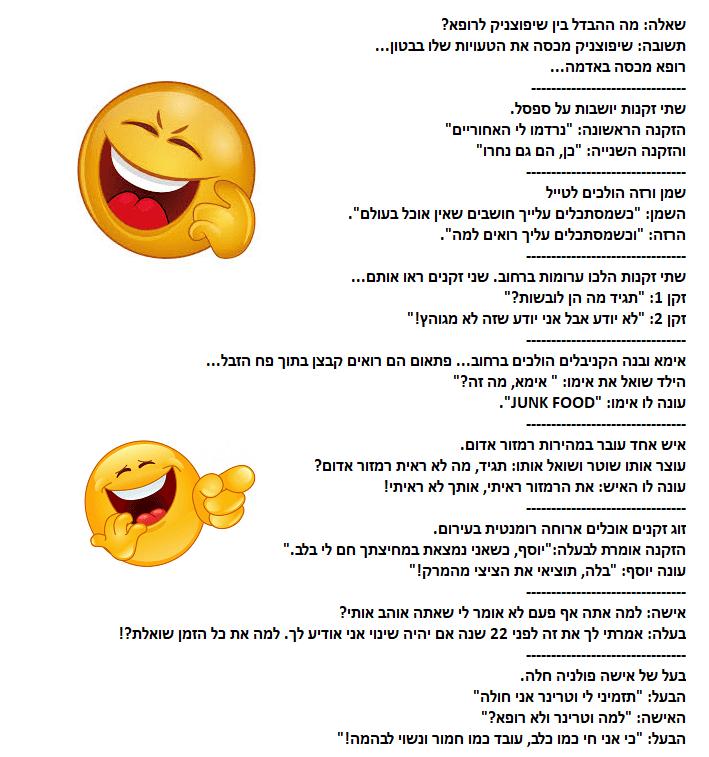 אוסף בדיחות קצרות ומצחיקות לקריאה בכל גיל